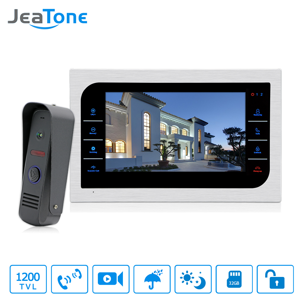 JeaTone 10 inch TFT LCD Door Intercom Video Doorbell System with Camera 2.8mm Lens 1200TVL 1V1 Door Access Control Waterproof jeatone 7 inch video door phone video intercom 1200tvl outdoor call panel 1200tvl analog camera access control system doorbell