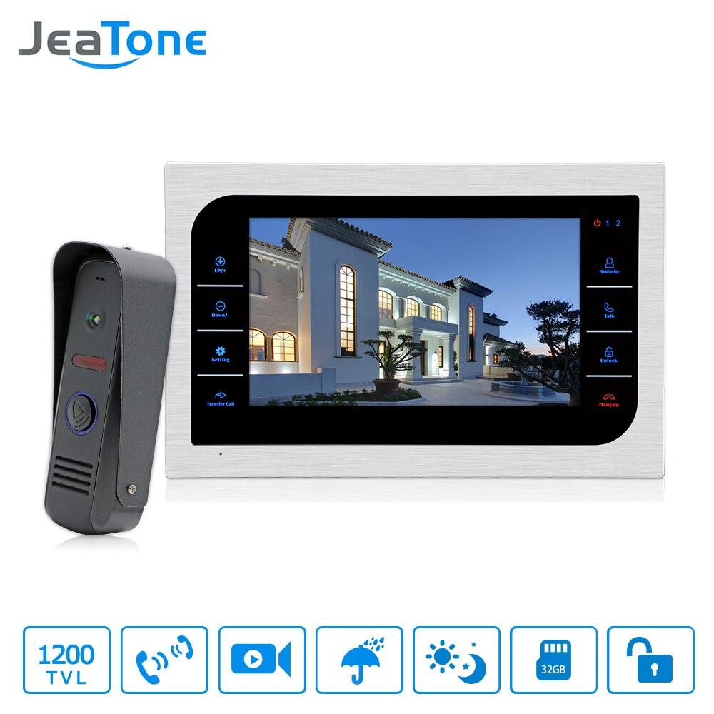 JeaTone 10 Inch TFT LCD Door Phone Video Doorbell System With Camera 2 8mm Lens 1200TVL