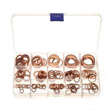 150pcs M6-M22 Copper Washer Gasket Set Flat Ring Seal Assortment Hardware Accessories omy 150pcs copper washers set solid copper washer gasket sealing ring assortment kit set with case 15 sizes for hardware tools
