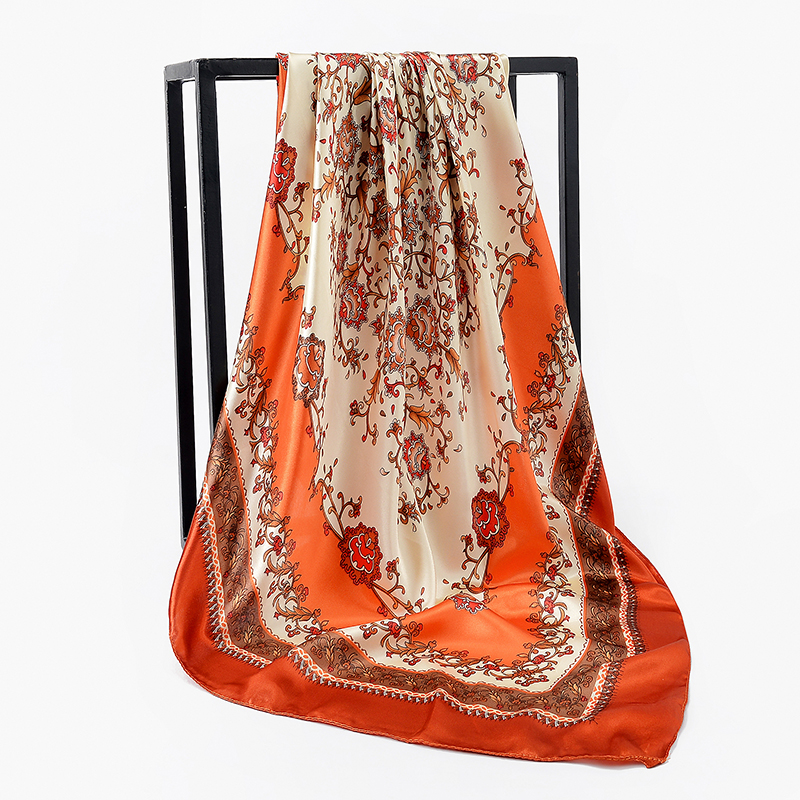 Retro Ladies Silk Scarf Bandana Fashion Women Printed Hijab Scarf Foulard Satin Square Head Hijab Large Square Scarves Wrap in Women 39 s Scarves from Apparel Accessories