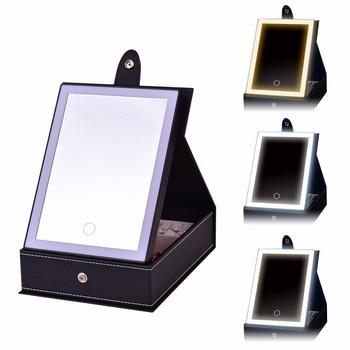 USB مرآة مكياج مضيئة مع صندوق مجوهرات درج منظم عرض حقيبة للتخزين مصباح ليد للسفر مستحضرات التجميل أقراط القلائد