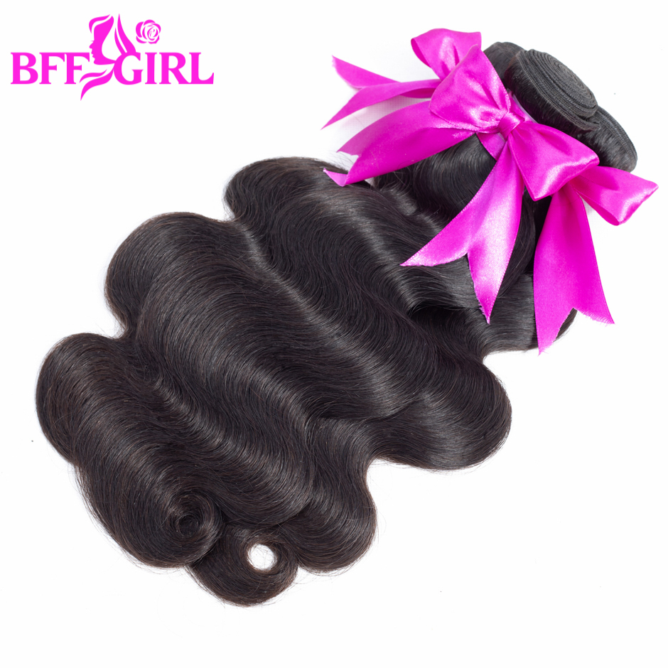 BFF GIRL Indian Body Wave Hair Bundles 100% Human Hair Weave 3 Bundles Deal 3.5oz/bundle Natural Black Color Non Remy Extensions