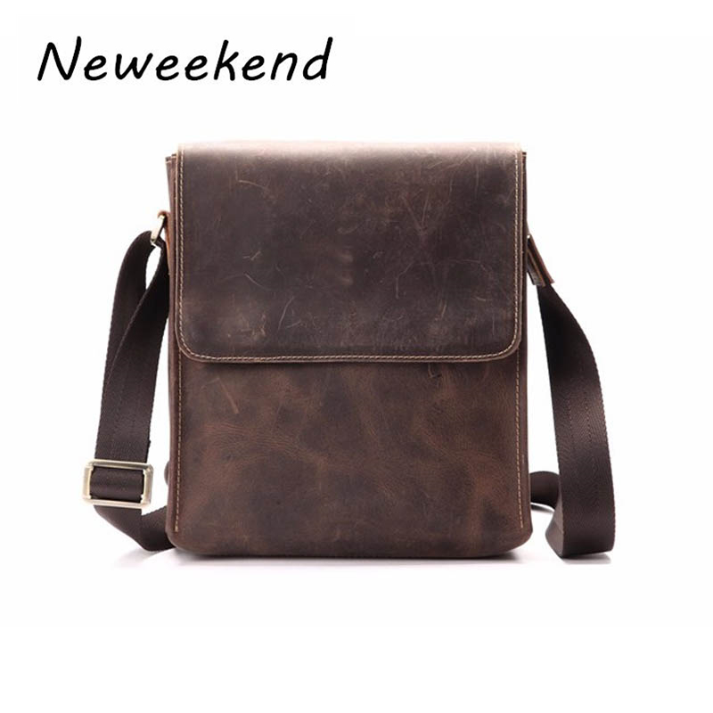 Man Shoulder Bag Äkta Läder Crossbody Väskor För Man Retro Messenger Flap iPad Bag Cowhide Crazy Horse Anti-Stöld Business