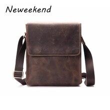 Male Shoulder Bag Crossbody bags for Man Women Retro Genuine Leather Messenger Flap iPad bag Cowhide Crazy Horse Anti-theft 15%