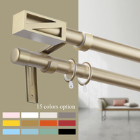 2019 New Design Exrea Thick Aluminum Alloy Curtain Poles Accessories Fashion Macaron Colors Series Single Double Curtain Rods