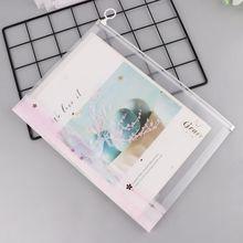 Розовая сумка для документов с мультяшным принтом для девочек, пластиковая папка на молнии, конверты, прозрачный полиэтиленовый пакет, конверты, держатель для документов, чехол, Let