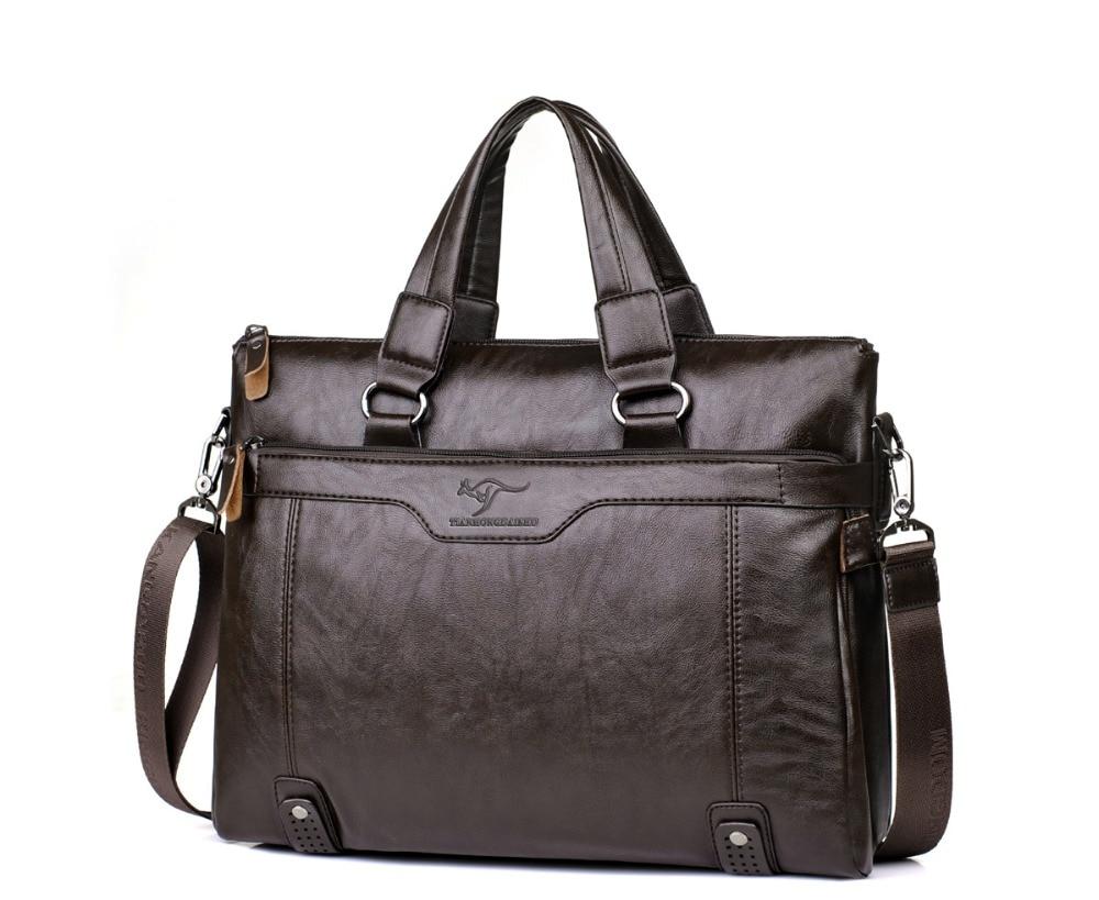 ZYJ Men\`s Business Leather Shoulder Laptop Briefcase Bags Sling Travel Messenger Portfolio Bag Causal Bolsa Lawer Handbag (23)