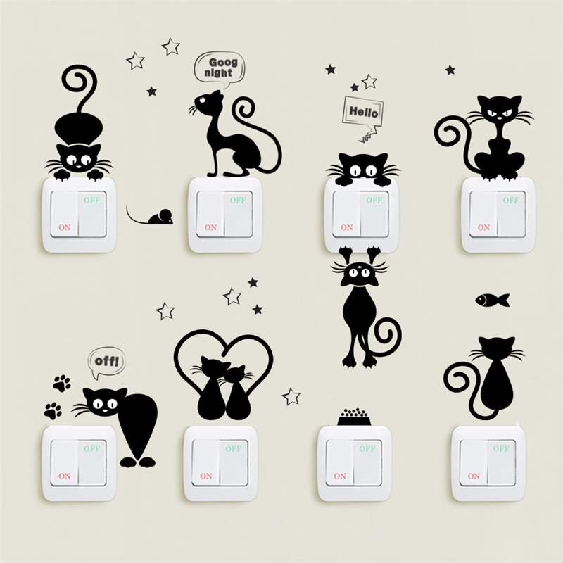 Lovely Cat Light Switch Phone Wall Stickers For Kids Rooms Diy Home Decoration Cartoon