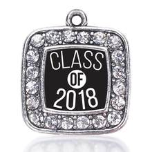 Personalized Custom Accept Clear Rhinestone Class Of 2018 School Bus Driver Graduate Square Pendant Charm Fraternities Jewelry(China)