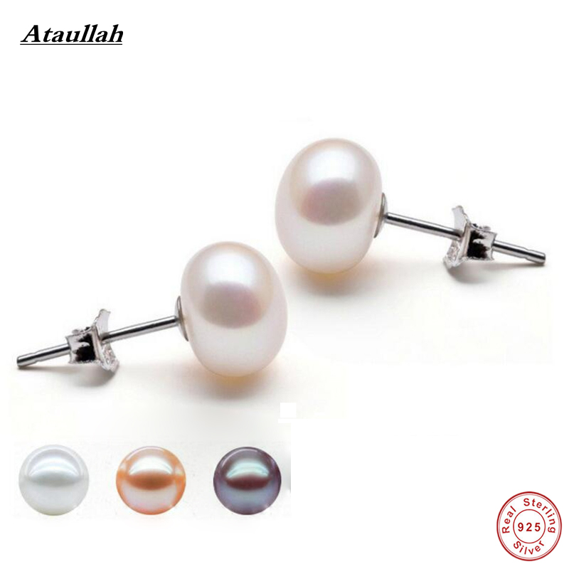 Ataullah Simple Natural Peals 925 Sterling Silver Fashion Stud - Joyas - foto 1
