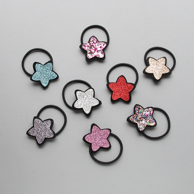 2017 new Glitter powder Star beautiful rubber band kids The ponytail holder hair accessories for girl 1pcs