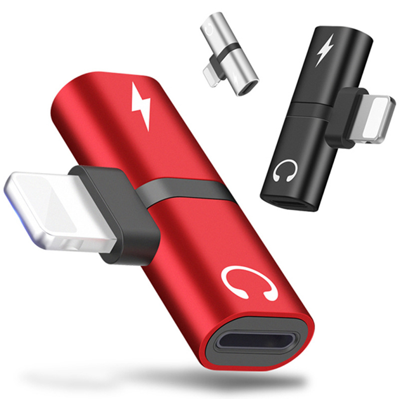 Aluminum earphone adapter connector audio music charging two in one  lightning   micro usb converter  for iPhone7/8/X