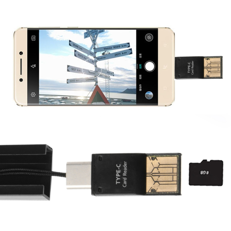 купить Two In One USB 3.1 Type C To USB 2.0 Micro SD TF Card Reader OTG Adapter For PC Cell Phone по цене 98.82 рублей