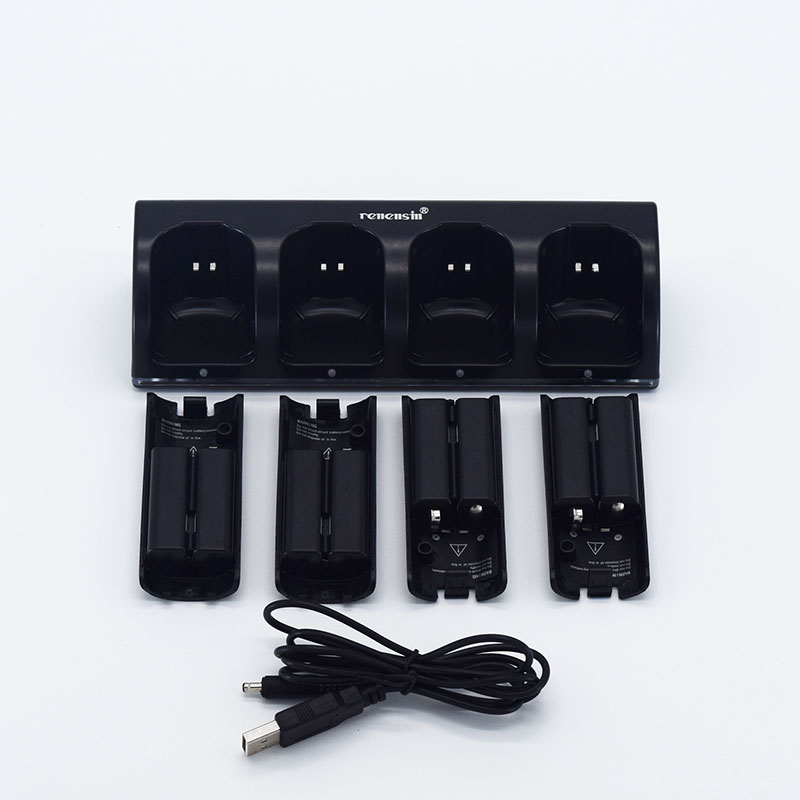 цена Renensin Black 4x Rechargeable Battery + Quad 4 Charger Dock Station Kit for Wii Remote Controller charger High quality