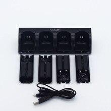 Renensin Черный 4x Перезаряжаемые Батарея + Quad 4 Зарядное устройство док-станции комплект для wii пульт дистанционного управления Зарядное устройство Высокое качество