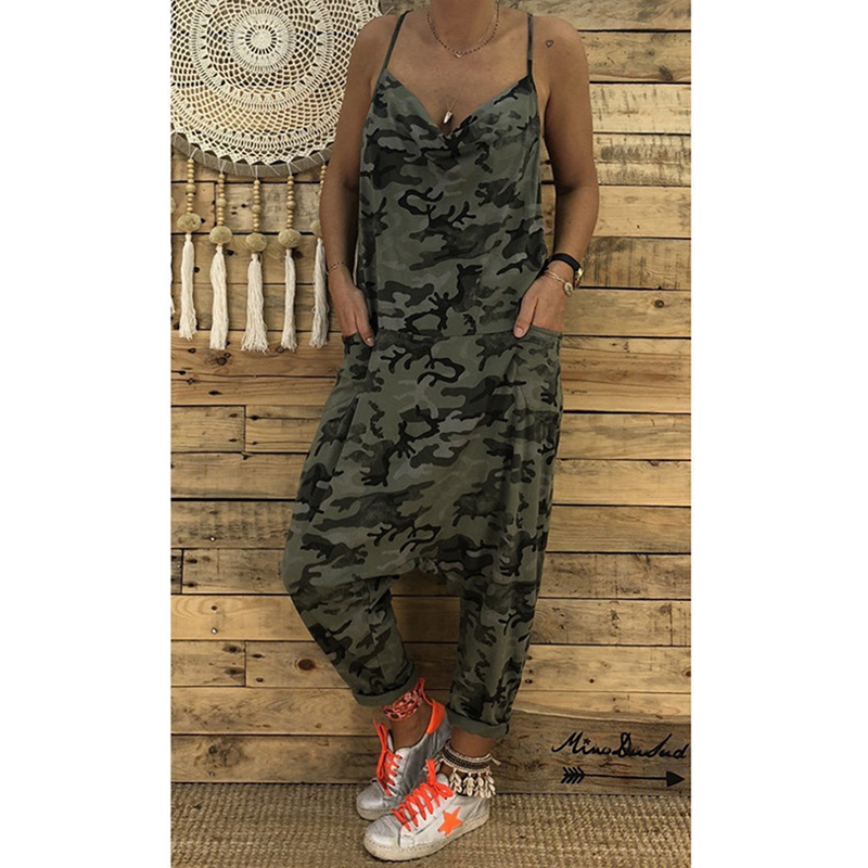 Summer Casual Loose   Jumpsuits   Women Camouflage Print Spaghetti Strap V Neck Sleeveless Military Streetwear Rompers