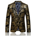Gold Blazer Men Floral Casual Slim Blazers 2016 New Arrival Fashion Party Single Breasted Men Suit Jacket Plus Size M-4XL