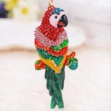 Высокое Качество Мода Животных Дизайн Ювелирных Изделий Rhinestone Эмали Parrot Кулон Брелки Позолоченный Брелок Для Сумки Женщины Кошелек