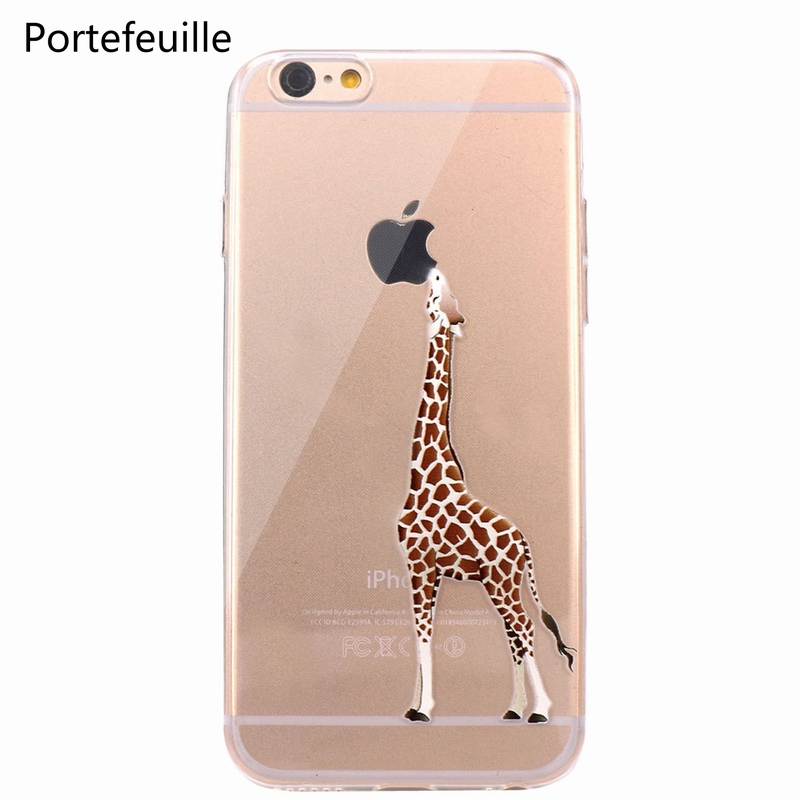 1076706e8 Portefeuille For iPhone 7 Case Giraffe TPU Soft Rubber Silicone Skin Cover  for iPhone 8 Plus ...