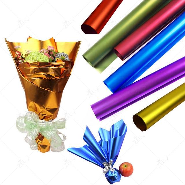 20 unids oro hoja dorado papel de regalo color sólido Glitter ...
