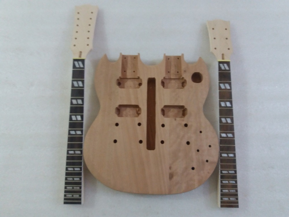 DIY SG Electric Double Neck Guitar Kit Solid Mahogany Body & maple Neck wholesale g lp custom electric guitar mahogany body maple neck in natural wooden 100807