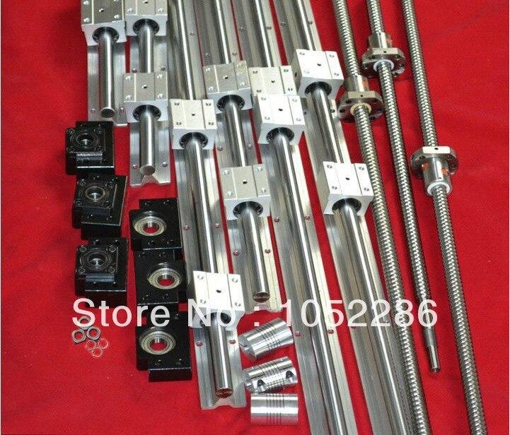 3 ensembles de vis à billes RM2005-L1550/950/350mm + 3 pièces coupleur + 3 ensemble BK15/BF15 fin support + 6 set SBR20-L1500/1000/500mm guidage linéaire