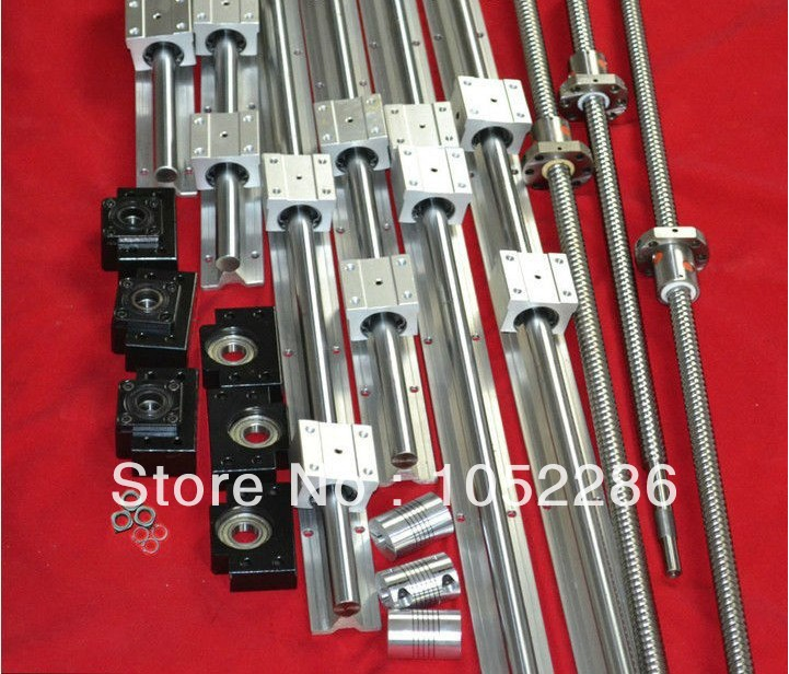 3 ensembles vis à billes RM2005-L1550/950/350mm + 3 pcs coupleur + 3 set BK15/BF15 support d'extrémité + 6 set SBR20-L1500/1000/500mm linéaire guide