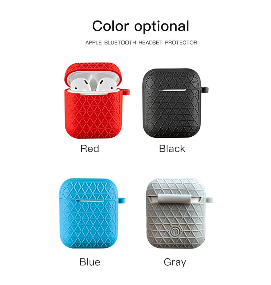 !ACCEZZ Grid Silicone Earphone Case For AirPod Headset Protective Fundas Cover Accessories For Apple AirPods With Key Chain Box (11)