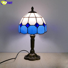 FUMAT Tiffany Table Lamp LED E27 Stained Glass Bedroom Blue Table Light 7 Inch American Children Marriage Home Deco Bedside Lamp недорого