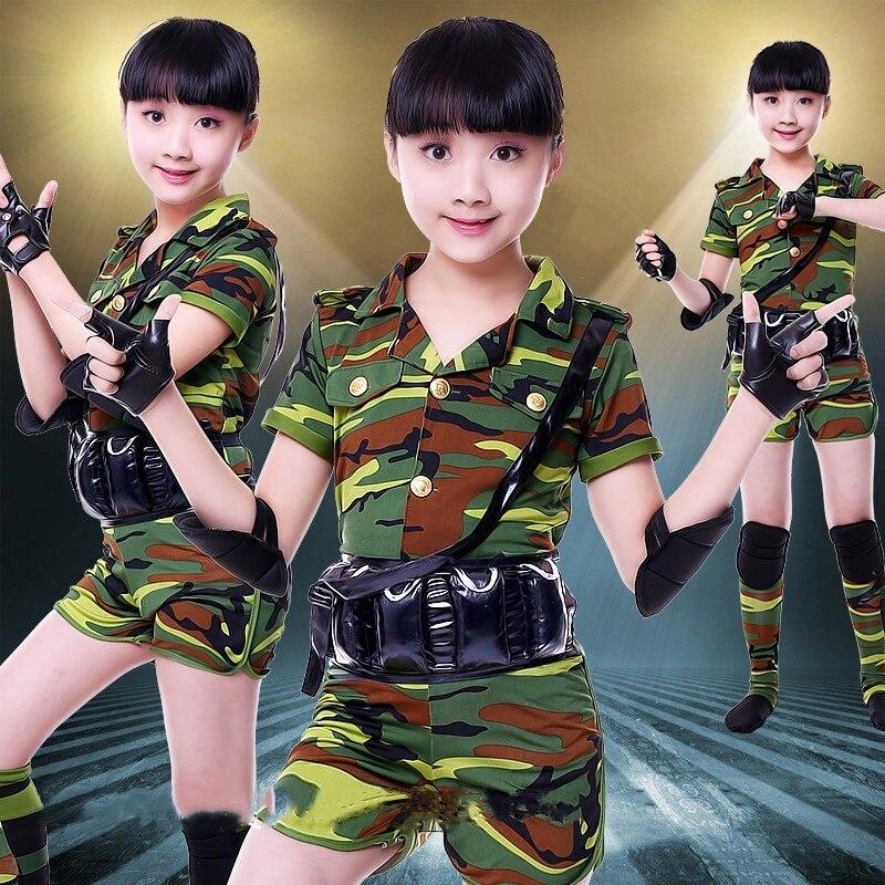 camo army uniform dance costumes for kids military uniform women camouflage army uniform dance costume girls boy