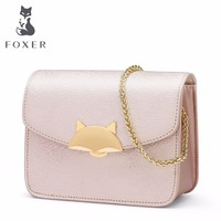 FOXER Women Leather Handbag Ladies Small Chain Shoulder Bags Lovely Candy Clutch Crossbody Flap Bag Sunmer