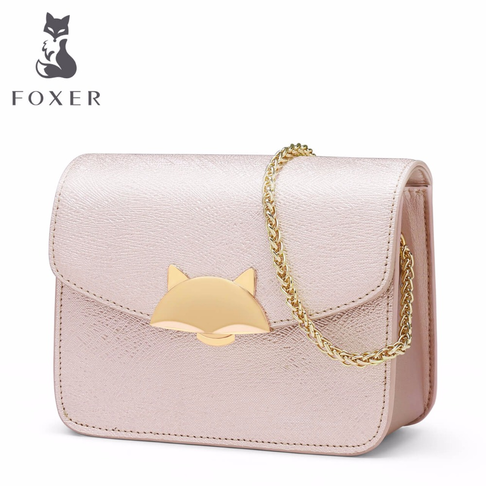 FOXER Women Leather Handbag Ladies Small Chain Shoulder Bags Lovely Candy Clutch Crossbody for Woman Flap Bag Summer Colors women floral leather shoulder bag new 2017 girls clutch shoulder bags women satchel handbag women bolsa messenger bag