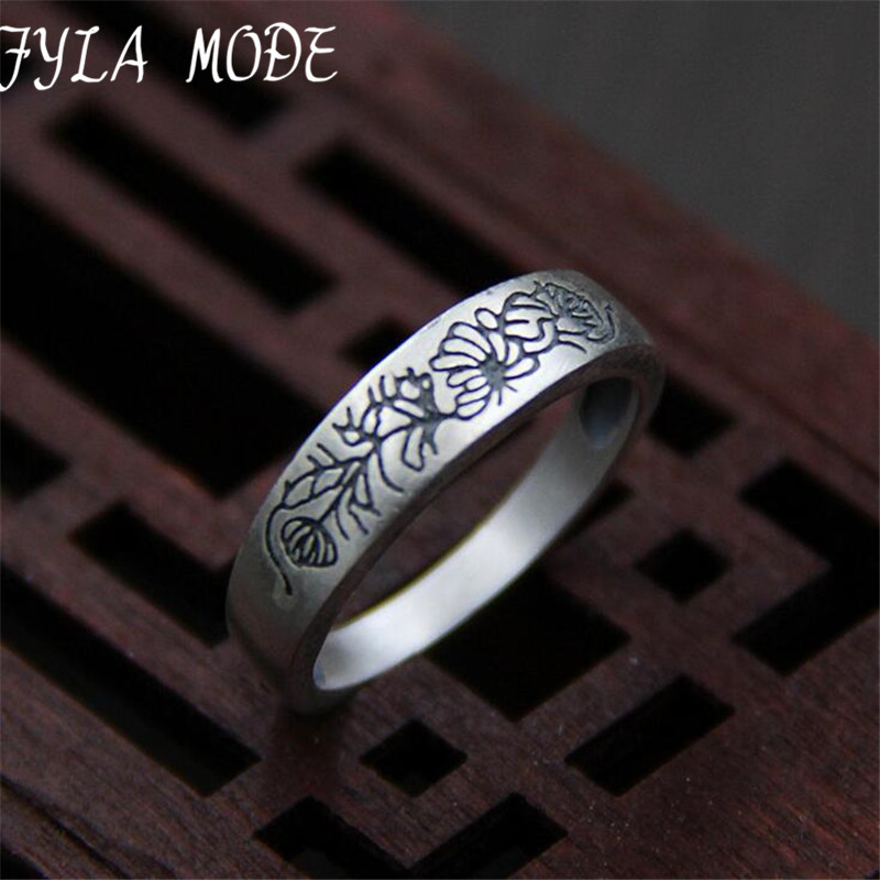 Pure 999 Sterling Silver Rings Flower Pattern New Fashion 100% S999 Solid Sterling Silver Ring for Women Men Jewelry 5mm TYC030