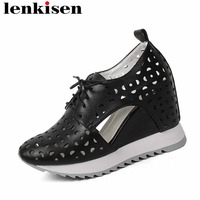 Lenkisen shallow cow leather lace up hollow round toe super high bottom summer brand classic fashion woman vulcanized shoes L93