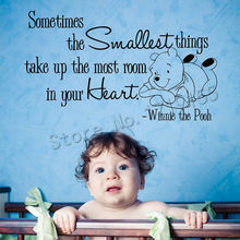 Winnie the Pooh Nursery Wall Decals Bedroom Quote Heart Bear Stickers Vinyl Crib Room Star Baby Theme Wallpaper ZW503
