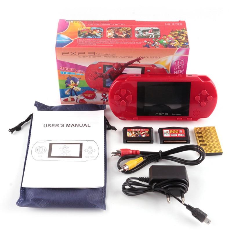 16 Bit Pxp3 Handheld Game Player Video Gaming Konsole Mit Av Kabel + Spiel Karten Klassische Kind Familie Video Pxp 3 Spielkonsole Elegant Und Anmutig