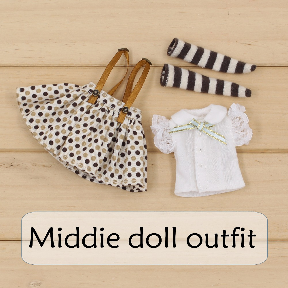 Free shipping only for middie blyth doll(20cm 1/8) Polka dot skirt white shirt brown stocking girl toy gift suit, not for blyth asymmetrical polka dot tunic t shirt