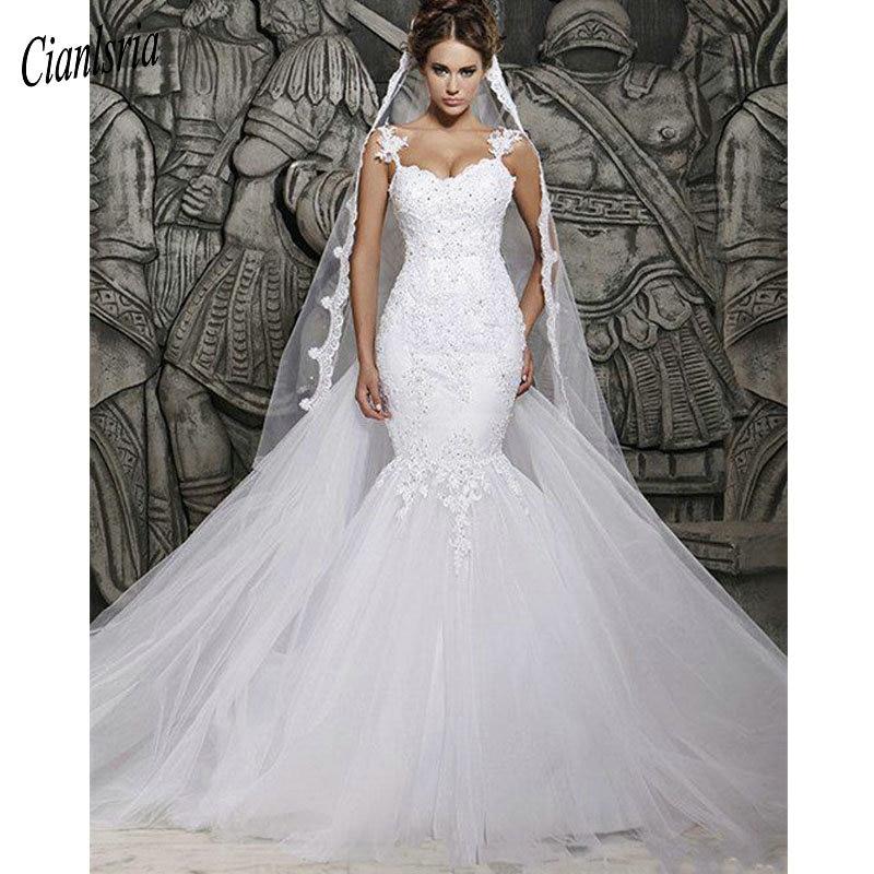 Beautiful Mermaid Wedding Gowns: Beautiful White Lace Wedding Dress Court Train Illusion
