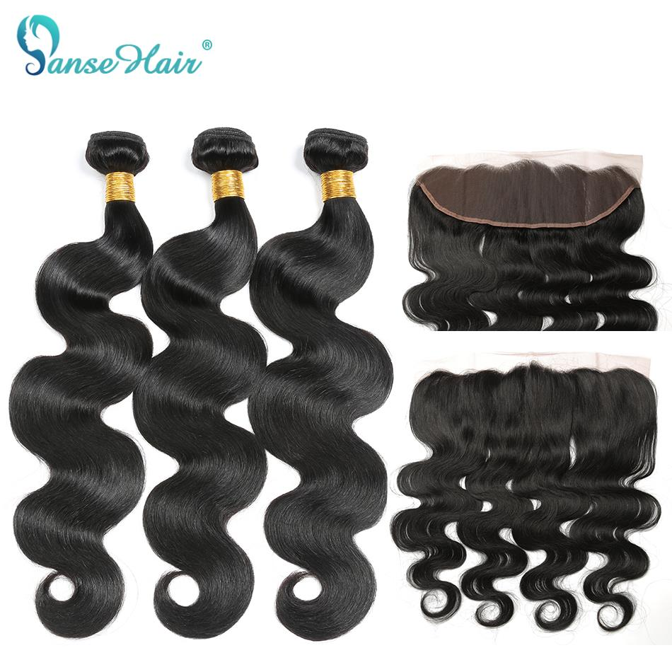 Panse Hair Brazilian Hair Extensions 100 Human Hair Body Wave Bundles with fronta 13x4 Non Remy