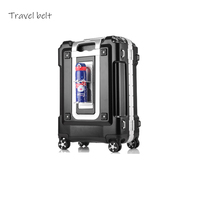 metallic feel 100% aluminum frame20/24/29 inch size Extra large volume Rolling Luggage Spinner brand Travel Suitcase