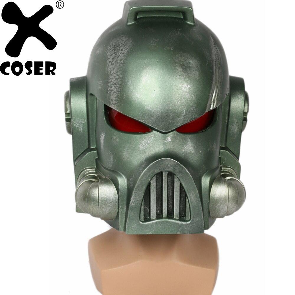 XCOSER Warhammer 40 k Space Marine Casque Jeu Cosplay Accessoires Cool Vert Pleine Tête Visage Casques Masque Costumes Accessoires