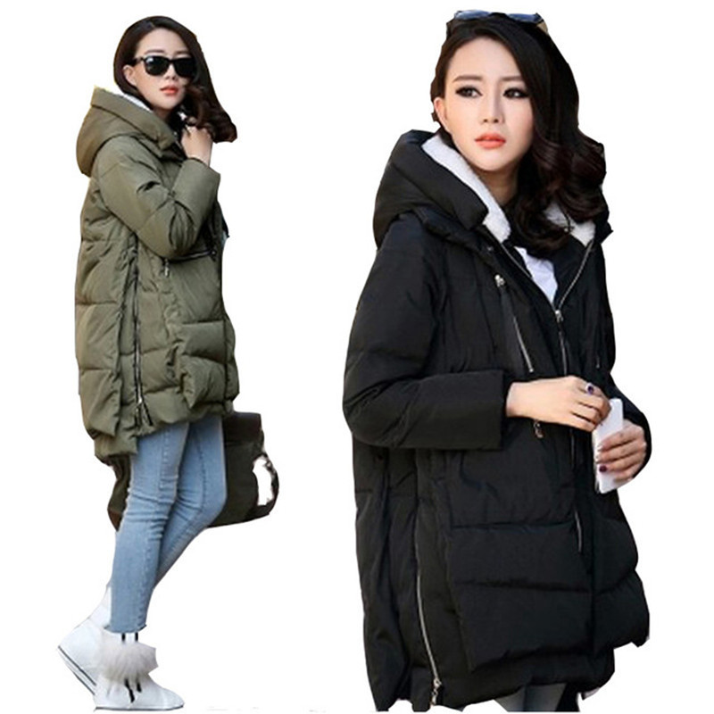 Winter Women Plus Size Down Jacket Military Parka Long Zipper Thick Female Hooded Cotton Padded Casual Warm Coat Outerwear F777