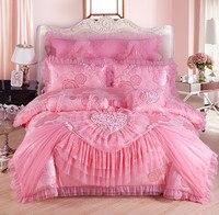 Red pink Jacquard wedding bedding sets 4/6/9pcs queen king size duvet cover set lace luxury bedlinen bedspread