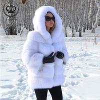2018 Women New Real Fox Fur Coat With Hood Thicken Warm Winter Real Fur Coats Fox Pelt Natural Jacket Fur Genuine Luxury FC 118
