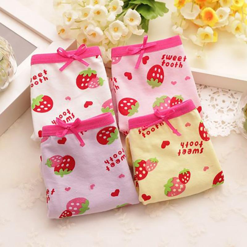 Bow Girl Boxer Briefs Cute Strawberry Print Girls Panties Cotton Baby Girls Panties Random Colors 2019
