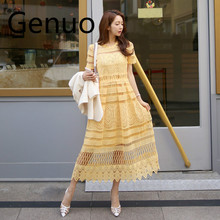 Genuo Lace Dress Women 2019 Summer New Hollow Short-Sleeved Slim Vintage Round Neck High Quality Party Yellow Long