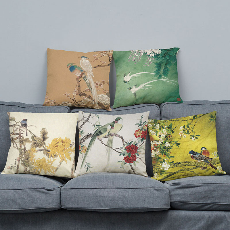 Cushion Cover Chinese classical painting design Pillow Case Sofa  Home Decorative Throw pillow cover square Seat cushion cover wallet