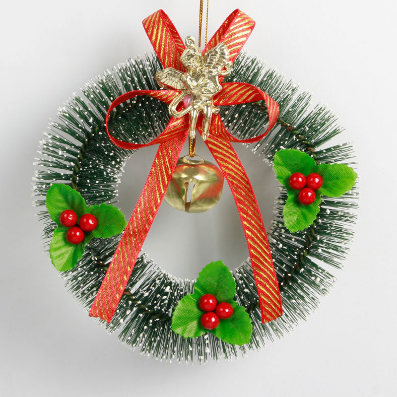 mini artificial christmas wreaths decorations door window christmas hanging pendant ornaments xmas wreath garland home decor in pendant drop ornaments - Artificial Christmas Wreaths Decorated