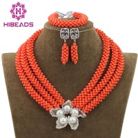 Handmade African Coral Beads Jewelry Set Flower Pendant Necklace Earrings Set for Nigerian Wedding Free Shipping CNR703