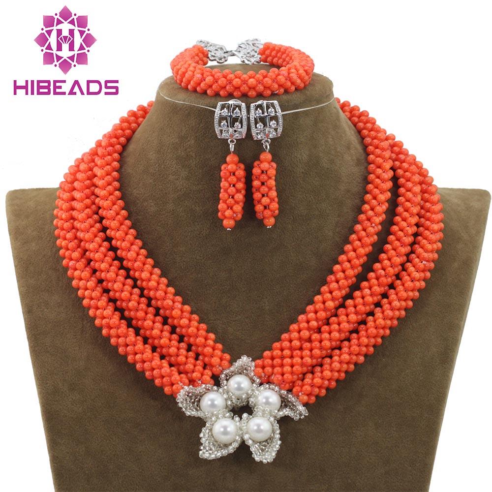 Perles de corail africaines faites à la main ensemble de bijoux fleur pendentif collier boucles d'oreilles ensemble pour mariage nigérian livraison gratuite CNR703